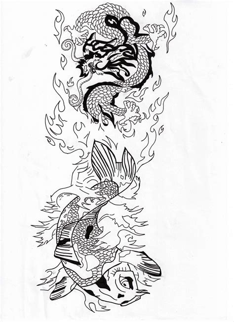 fish and dragon water and fire tattoo design by koast08