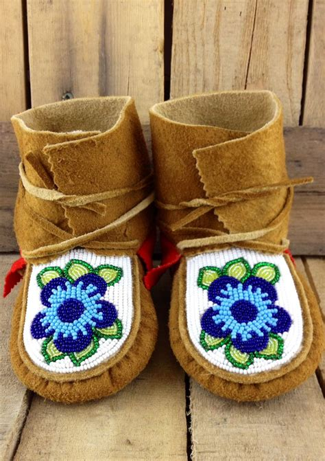 how to bead leather moccasins tanned moose hide infant wraparounds with blue beaded