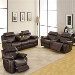 darrin leather reclining sofa set with console brown