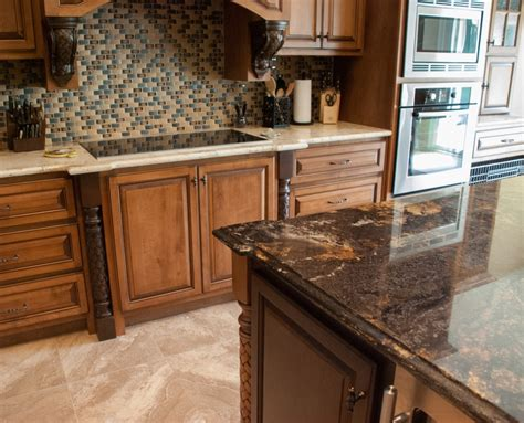 Kitchen Cabinet Island Ideas Contrasting Island And Main Countertops Granite Kitchen