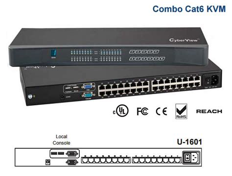 Hughes Kvm Switch 16 Port ah u 1601 cyberview 16 port combo cat6 kvm switch rack
