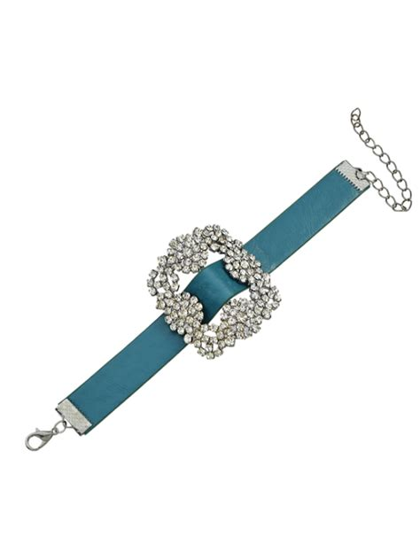 Rhinestone Faux Leather Bracelet rhinestone faux leather flower bracelet blue bracelets