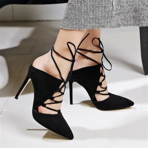 Strappy Pointy Pumps black strappy heels lace up pointy toe suede pumps