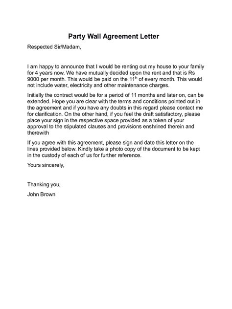 agreement letter templates   templates