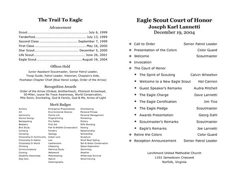 eagle scout court of honor program template court of honor program sle step d program pdf