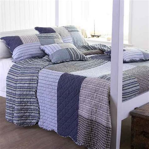 100 Cotton Quilted Bedspreads patchwork 100 cotton quilted bedspread grey blue