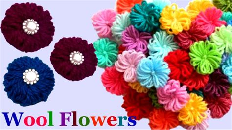 Handmade Woolen Flowers - how to make easy woolen flowers step by step handmade