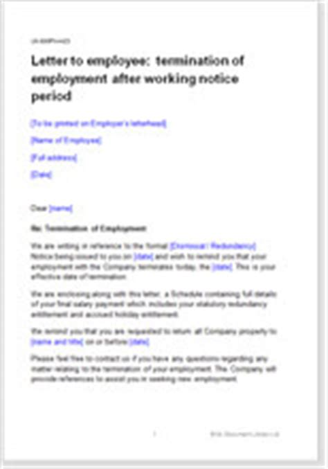 letter to employee terminating employment after notice period