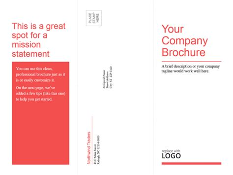 tri fold business medical brochure red white design