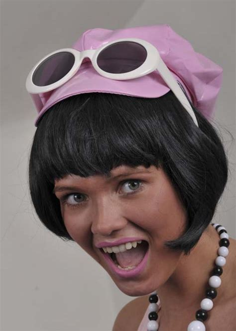 70s china doll 60s go go black bob china doll wig