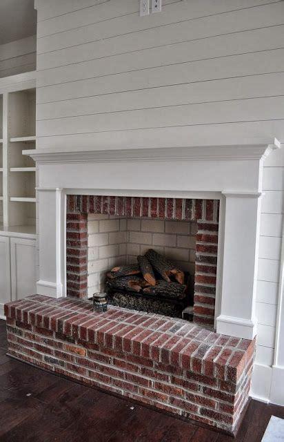 Shiplap Wall Fireplace White Shiplap Walls With Brick Fireplace Search