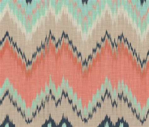 Scarla Ikat large scale ikat chevron in mint coral and navy fabric by