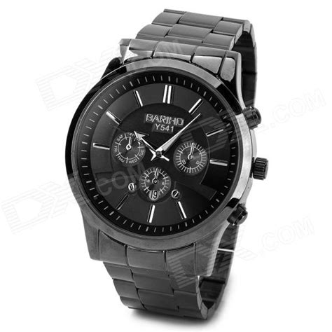 Bariho Dual Time Black bariho y541 stainless steel band 3 ring deocration quartz