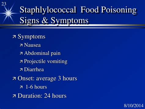 onset of food poisoning symptoms ppt staphylococcus powerpoint presentation id 3126904