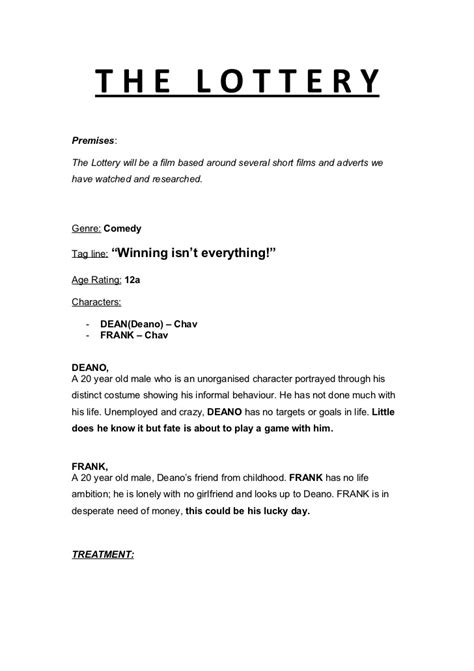 Film Treatment Draft 3 Tv Show Treatment Template