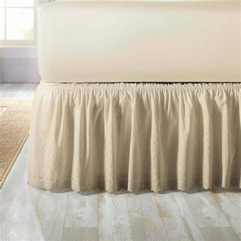bed ruffles levinsohn eyelet ruffled bedding bed skirt walmart com
