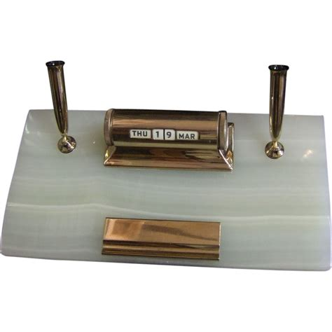 desk pen stand mid century sheaffer desk pen stand perpetual calendar from greencountry on ruby lane