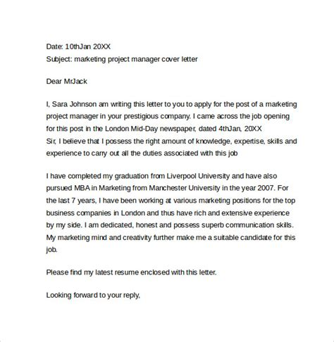 project coordinator cover letter marketing cover letter exles 10 free