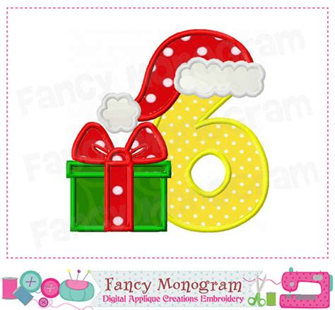 items similar to christmas number 6 applique birthday
