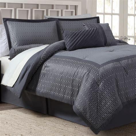 piece jacquard comforter set gray grid