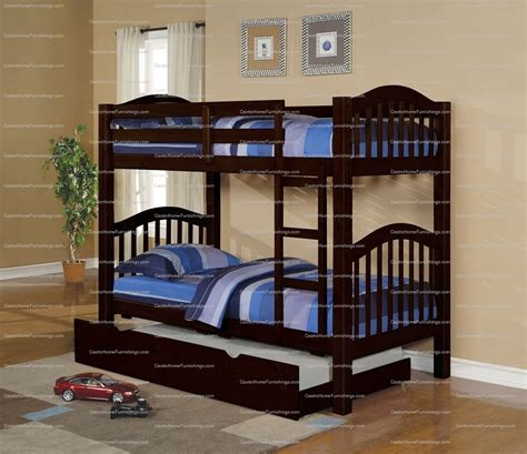Bunk Bed With Trundle Bed Espresso Finish Wood Bunk Bed With Trundle