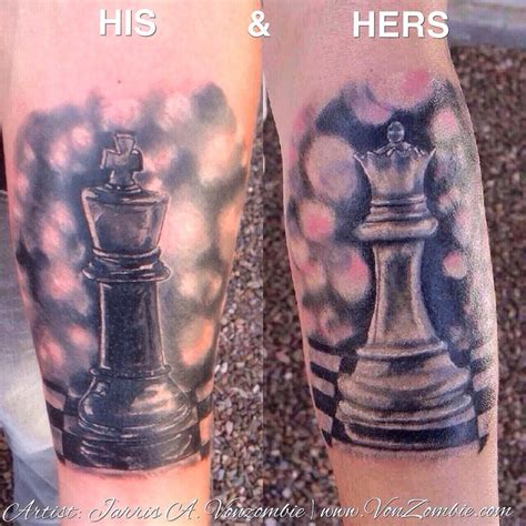 king and queen chess piece tattoos his and hers king chess pieces created by jarris
