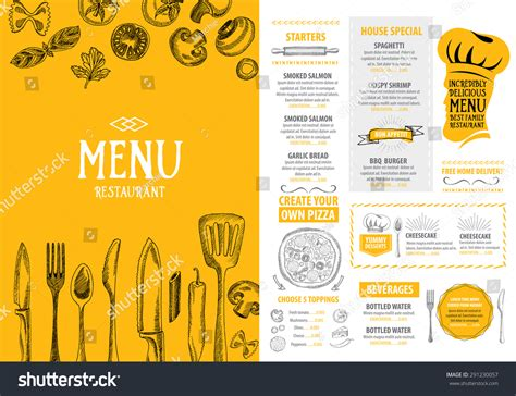 menu template design restaurant cafe menu template design food stock vector