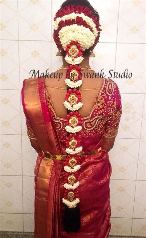 traditional southern indian s bridal braid hair hairstyle by swank studio silk saree