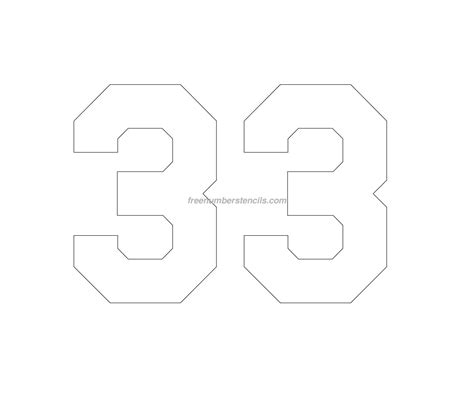 printable jersey numbers free jersey printable 33 number stencil