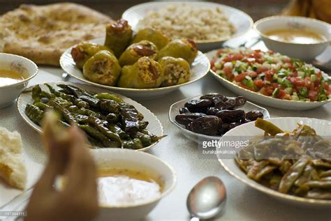 cuisine ramadhan table set with ramadan food in istanbul turkey stock photo