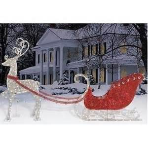 Outdoor Lighted Reindeer Decoration by Philips Lighted Reindeer Sleigh Set Outdoor