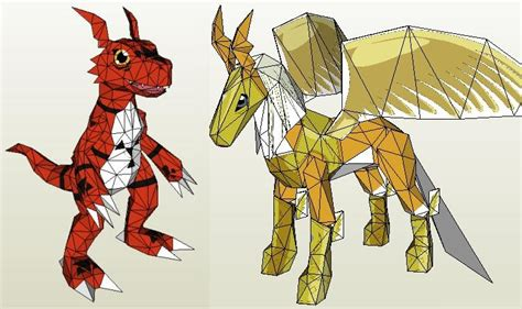 Digimon Papercraft - digimon papercraft guilmon and pegasusmon jpg