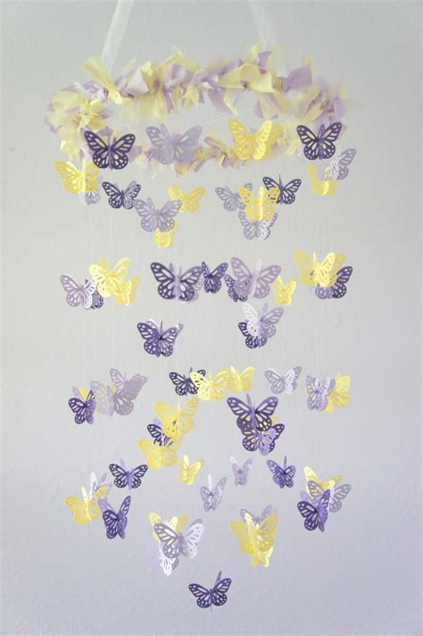 purple lavender yellow butterfly mobile on luulla