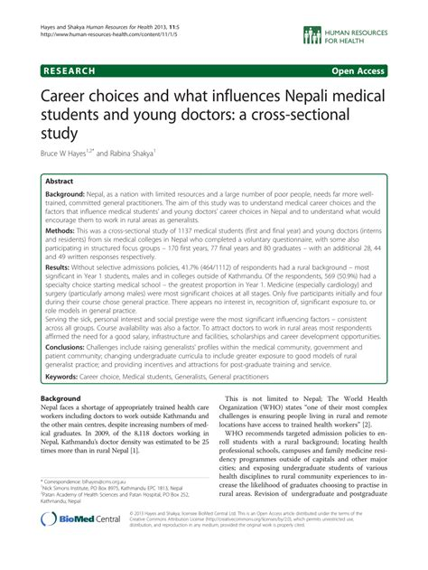 cross sectional study pdf career choices and what influences nepali medical students