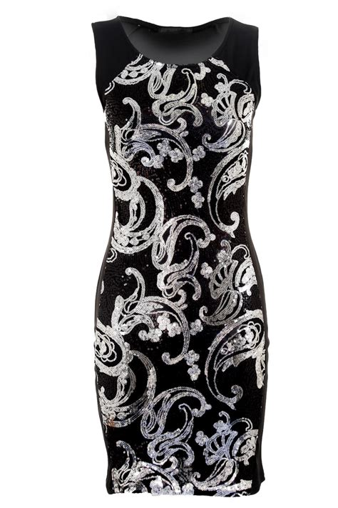 Dress Premium 2warna Silvergold s sequin bodycon black silver gold front back