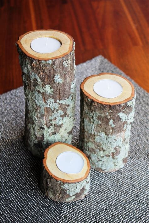 homemade log candle holders guide patterns