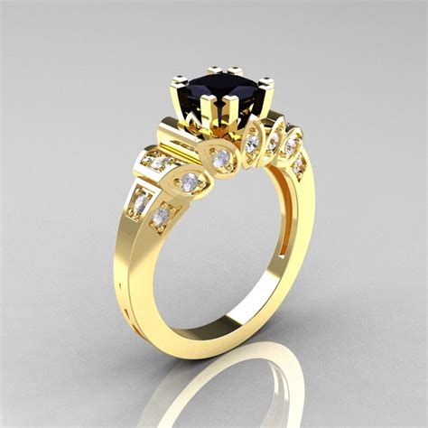 classic 14k yellow gold 1 23 ct black and white