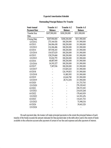 amortization schedule examples samples examples