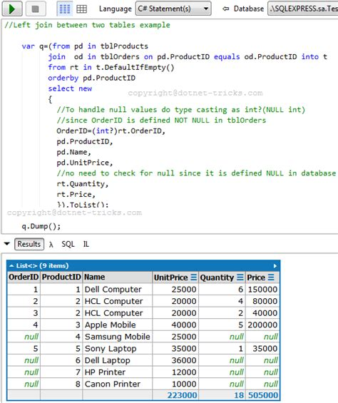 Linq Join Tables sql joins with c linq
