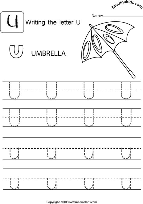 letter u tracing printable medinakids learn write upper and lower case letters