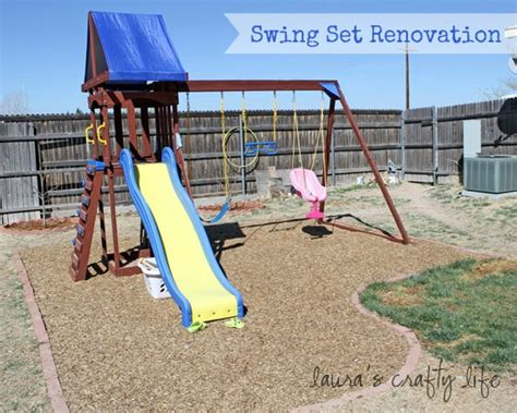 swing set area ideas swing set renovation laura s crafty life