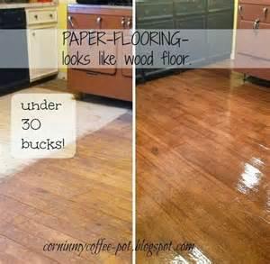 Hardwood Flooring Diy Faux Wood Flooring Brown Kraft Paper Glue Polyurethane Clean Repair Remodel