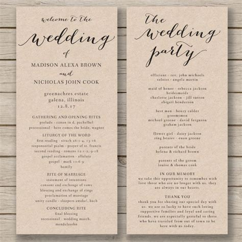 Wedding Service Booklet Template