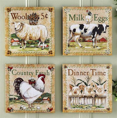 farm animal kitchen decor set   farm animal canvas
