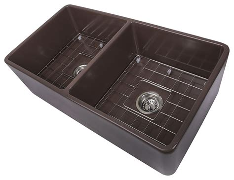 brown kitchen sink nantucket sinks 33 quot double bowl coffee brown farmhouse