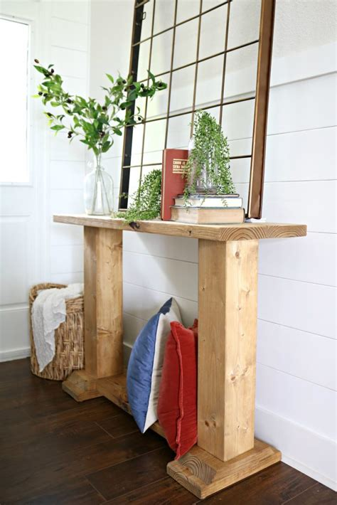 11 tips for styling your entryway table diy trestle style entry table addicted 2 diy