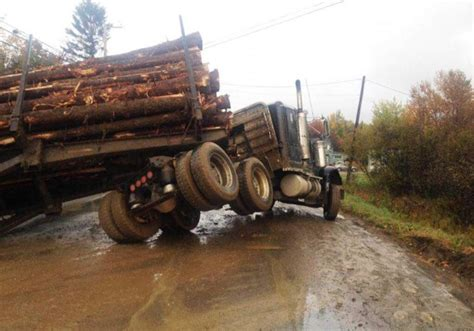 truck maine logging truck rollover blocks traffic in southern