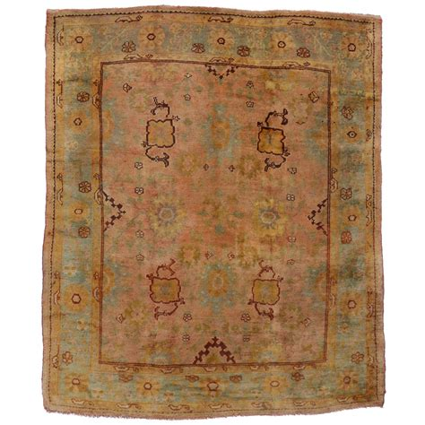 Antique Looking Area Rugs Antique Turkish Oushak Area Rug With Modern Style In Time Softened Colors For Sale At 1stdibs