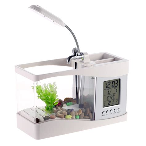 Usb Desktop Aquarium Mini Fish Tank Akuarium Mini With Lcd Display usb mini fish tank desktop electronic aquarium mini fish
