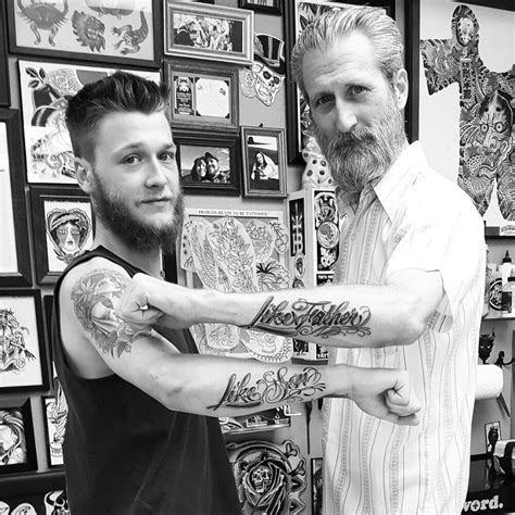 father and son matching tattoos matching like like razor themed